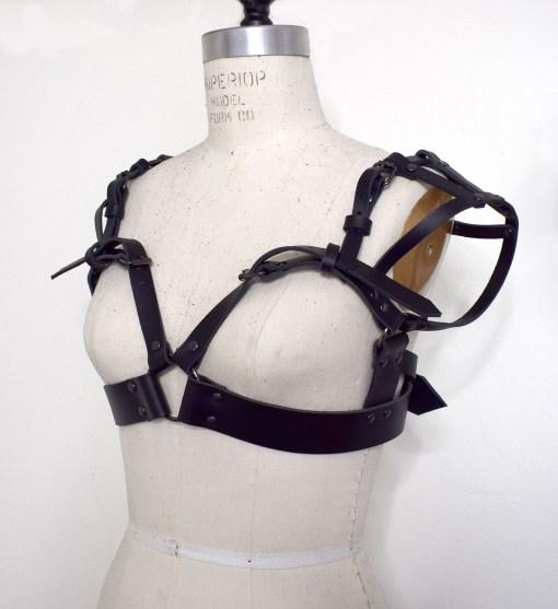 sweetheart leather harness bra, love lorn lingerie