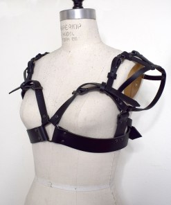 sweetheart leather harness bra, love lorn lingerie