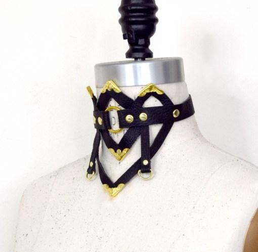 art deco leather collar, love lorn lingerie