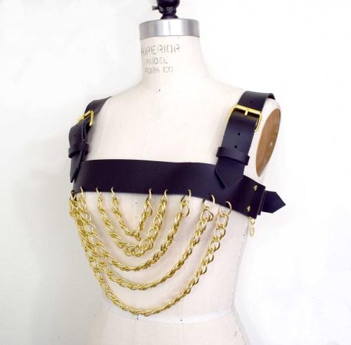 chain leather harness, love lorn lingerie, bondage fetish fashion