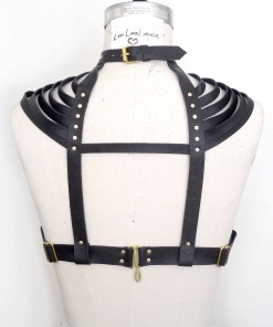 strappy leather shoulder harness, lovelornlingerie