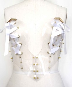 clear pvc laced bustier, lovelornlingerie