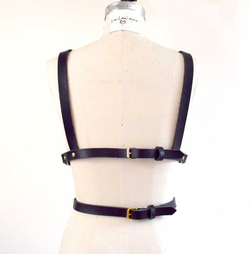 black leather body harness