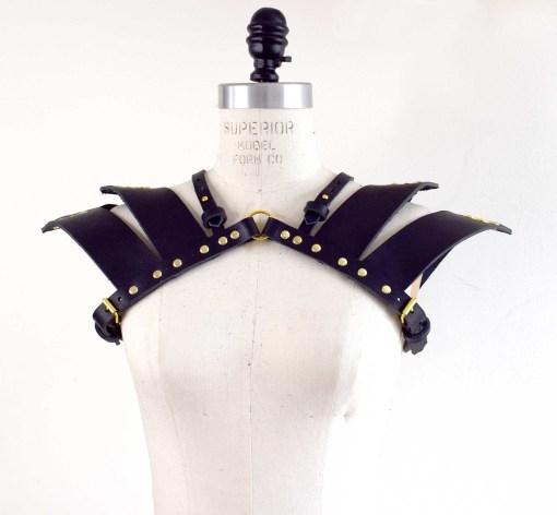 leather shoulder pauldron harness