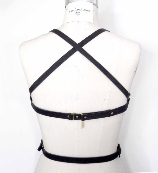 leather crossed torso harness, love lorn lingerie