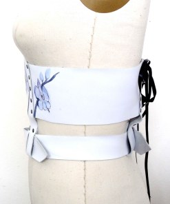 floral white leather waistcincher, love lorn lingerie