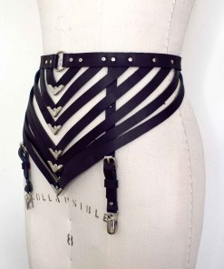 strappy black leather garter belt