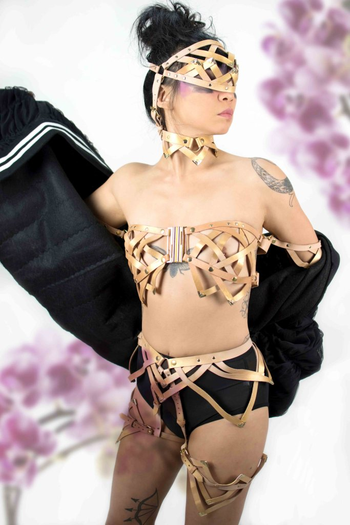 strappy leather lingerie harness, lovelornlingerie
