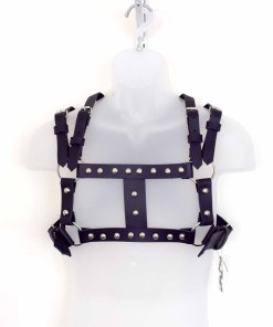 Studded black leather chest harness