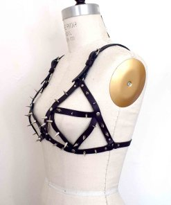Spiked strappy Leather Bralette