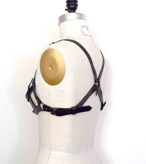 black leather triangle bra