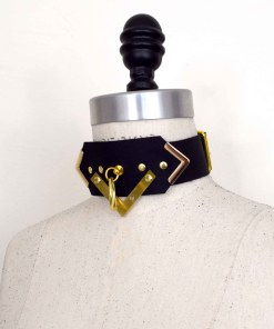 art deco leather collar