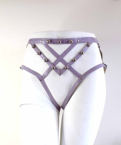 purple leather harness panty