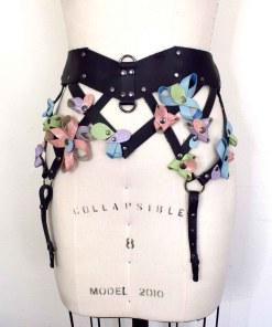 Pastel Leather Garter Belt