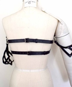 Black Leather Bandeau Bra
