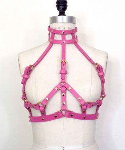 Pink leather harness bra