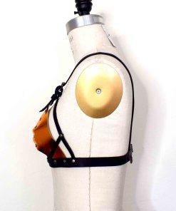 metallic strappy leather bra