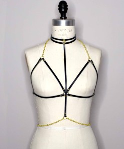 delicate leather chain harness set