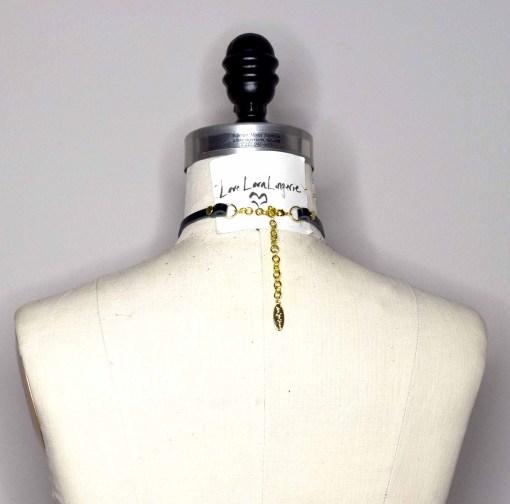 slim leather chain collar