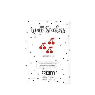 Pöm le bonhomme- Stickers muraux repositionnables cerises rouges