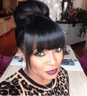 bun hairstyles with bangs