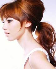 long ponytail with bangs