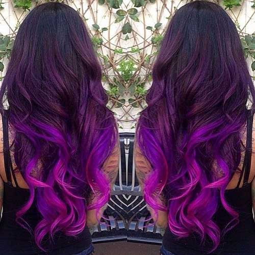 Purple And Long Hairstyles Purple Hair Trend 2017