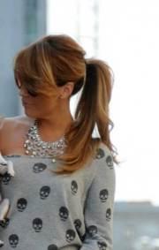 long ponytail with bangs
