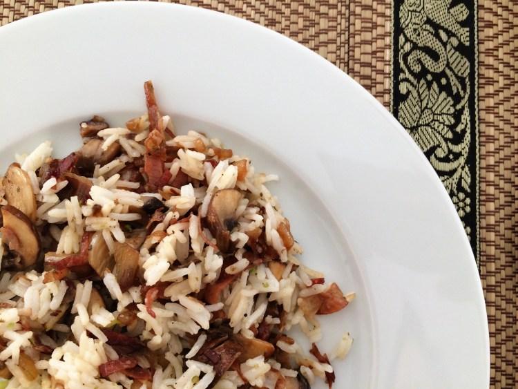 Speck-Pilz-Reispfanne