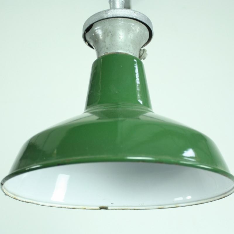 Vintage green enamel industrial pendant light  Lovely and