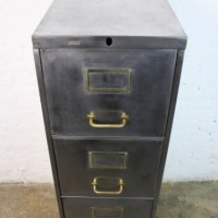 Vintage steel narrow 4 drawer filing cabinet with brass