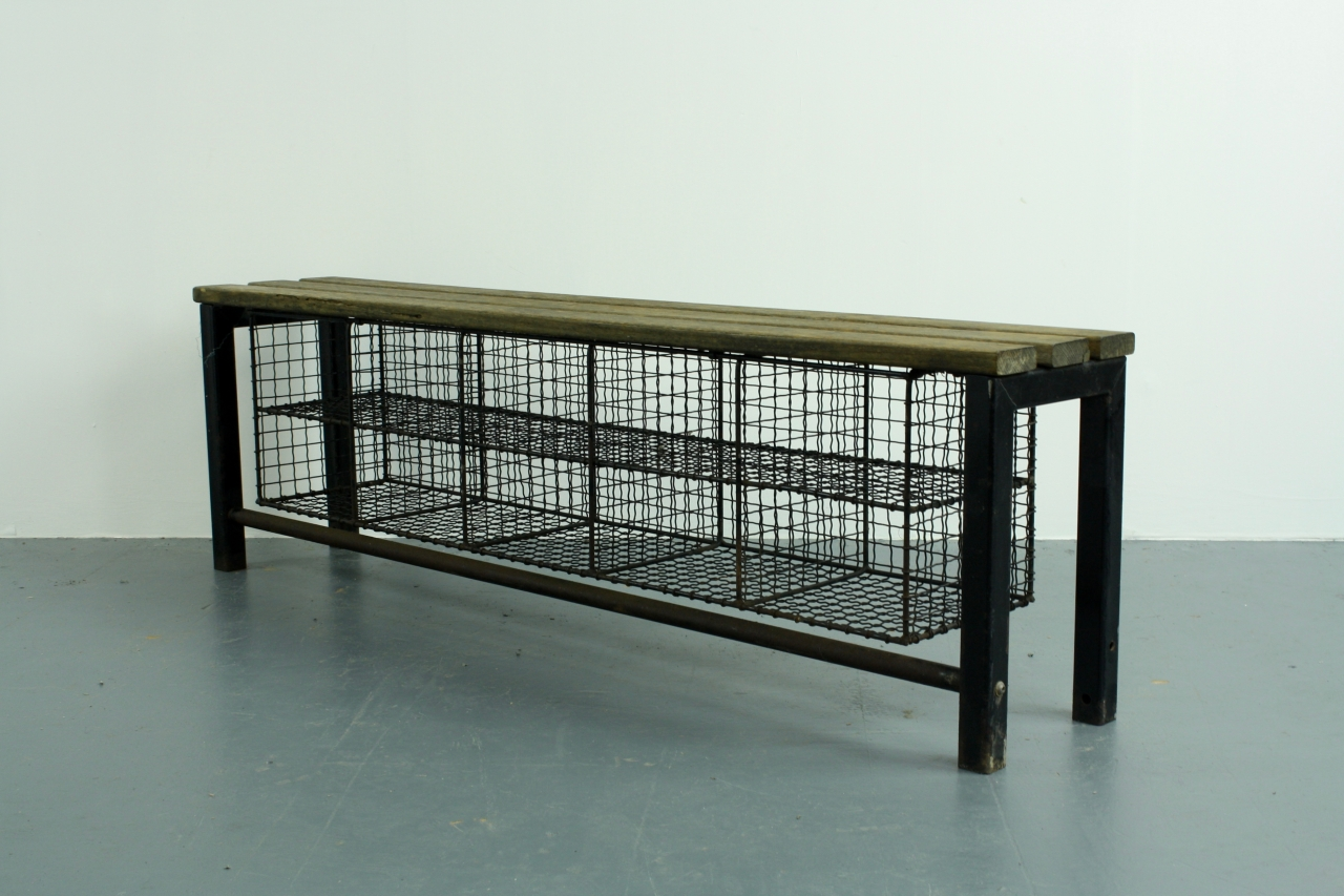Vintage Industrial Wire Mesh And Wooden Shoe Rack Bench