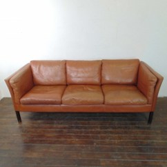 Brown Leather Sofa On Legs Nail Head Trim Mogensen Style 3 Seater Light Lovely And Company