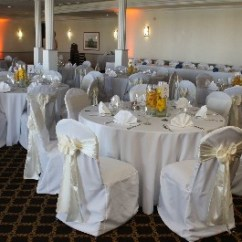 Chair Covers Gray Harwick Extra Tall Drafting Cover Pictures Clover Sashes White The Oceanview Room Point Loma Wedding