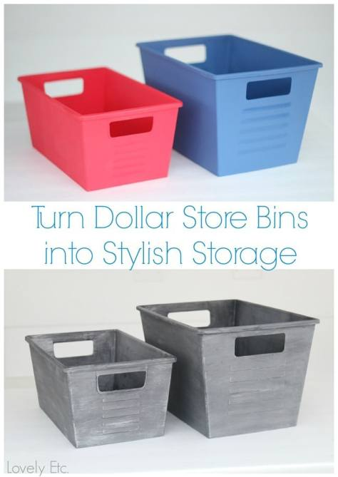 Turn Dollar Store Bins into Stylish Storage with Paint