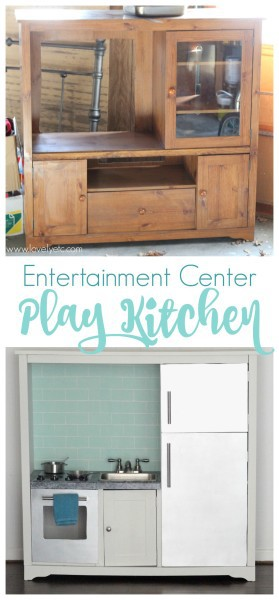 DIY play kitchen from an entertainment center  Lovely Etc