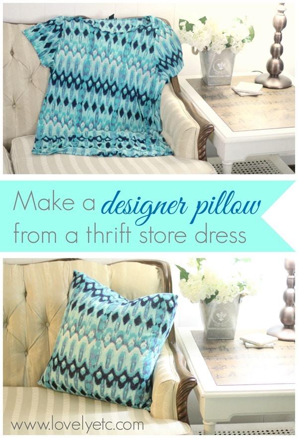 make a designer pillow from a thrift store dress