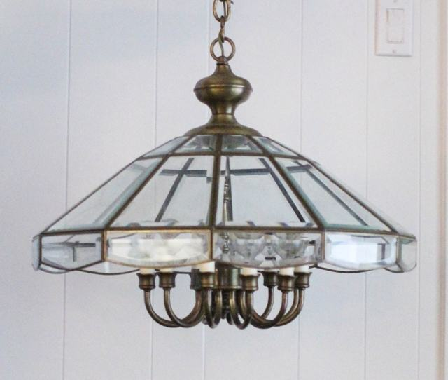 Old Brass And Glass Chandelier