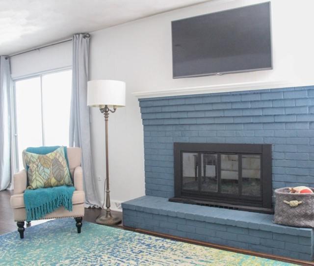 Navy Brick Fireplace