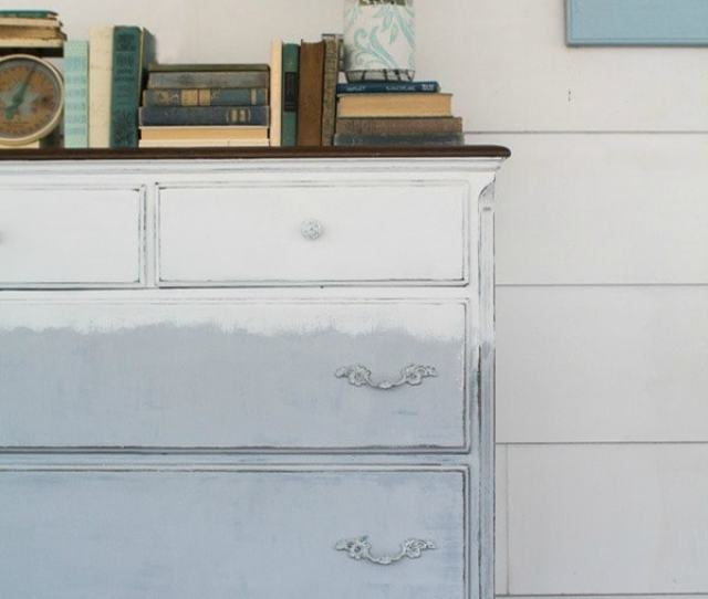 Painting A Dresser With A Faded Paint Job Using Gray And White Chalk Paint A