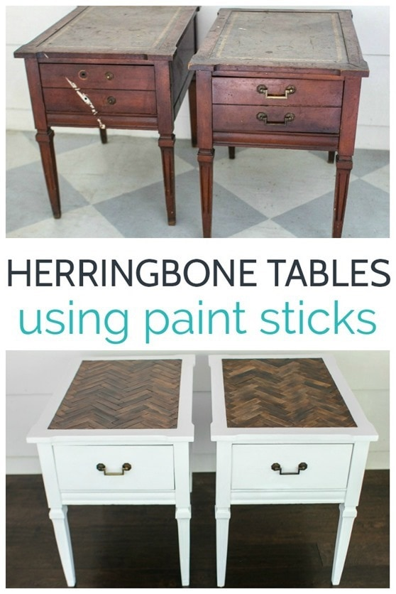 how to make a sofa table top arm protective covers herringbone with paint sticks lovely etc tables made stirrers step by tutorial for creating beautiful
