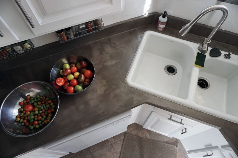 cement kitchen sink subway tiles in lovely imperfection diy concrete countertops over laminate surfaces using henrys feather finish is a fast budget route