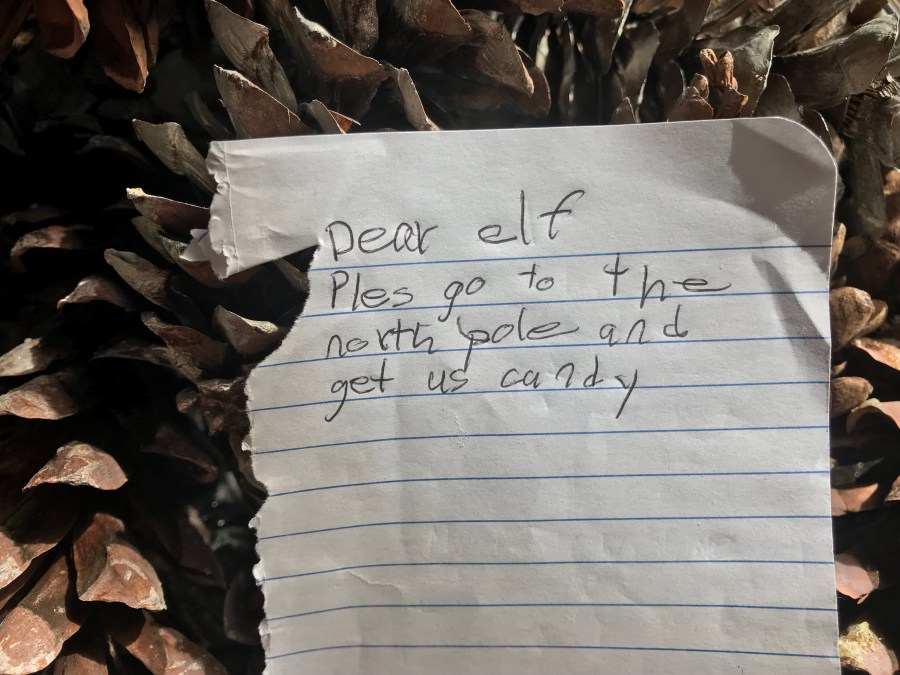 Kids commonly write notes requesting candy from their elf