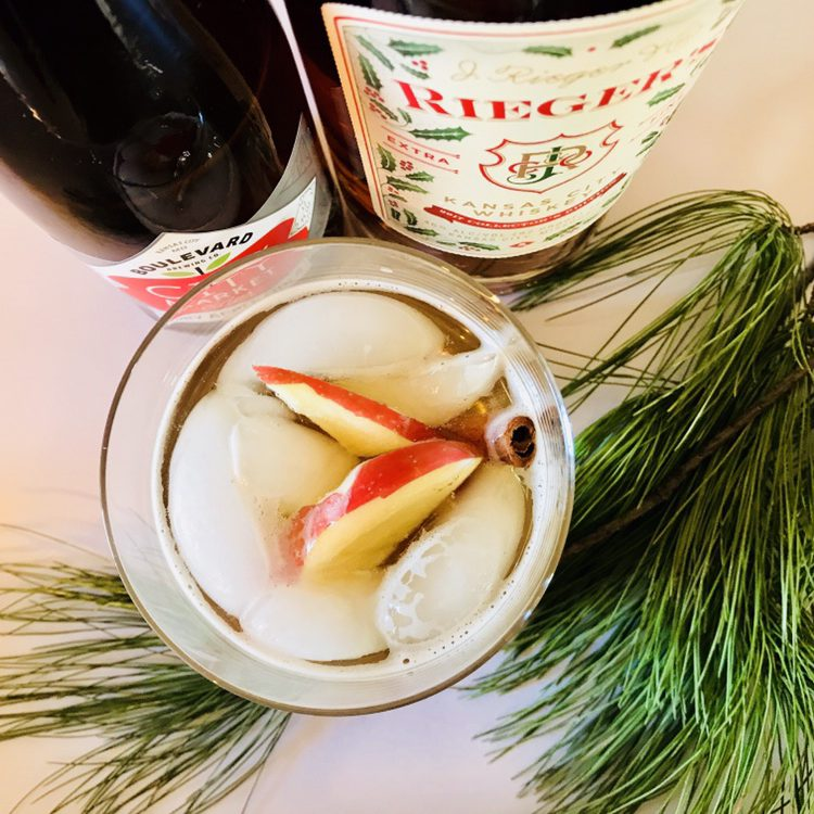 Boulevard cider and J. Rieger whiskey cocktail