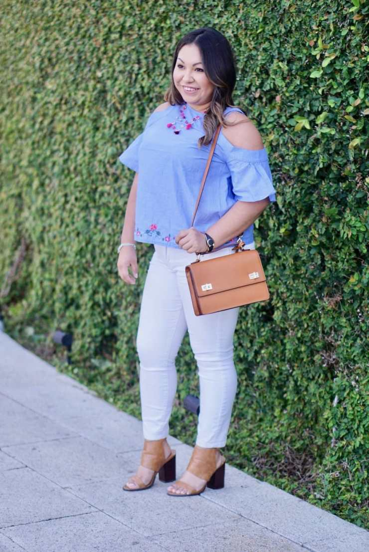 express, white jeans, brown shoes, brown purse, cold shoulder