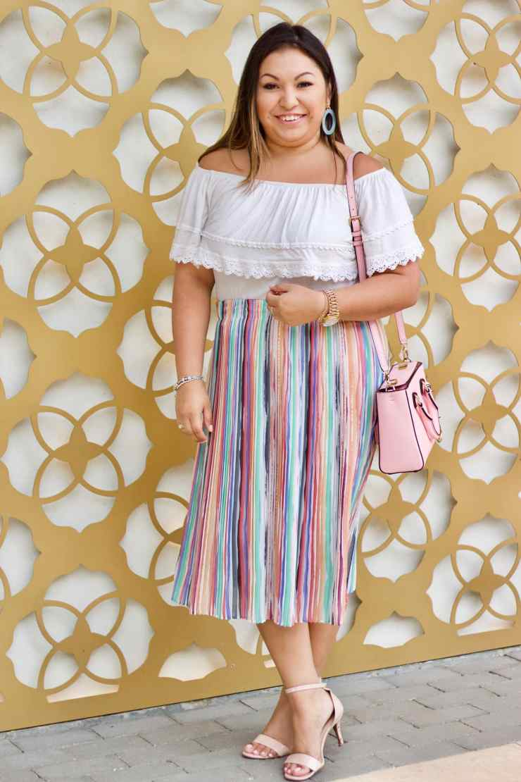 easter skirt, easter outfit, easter outfit idea, what to wear for easter, pastel skirt, white OTS top, pink purse