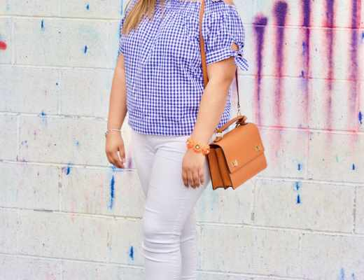 spring outfit, gingham, white denim, cognac shoes