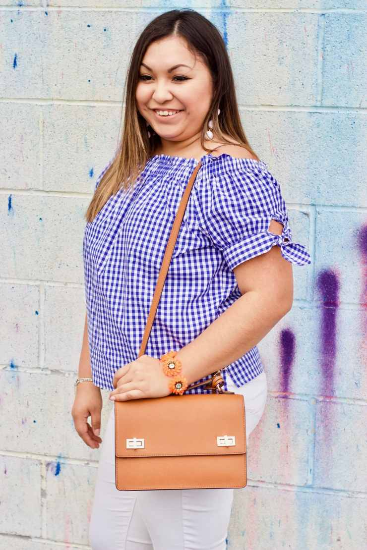 blue and white outfit, blue and white top, gingham top,