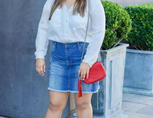 outfit inspiration, how to style a denim skirt