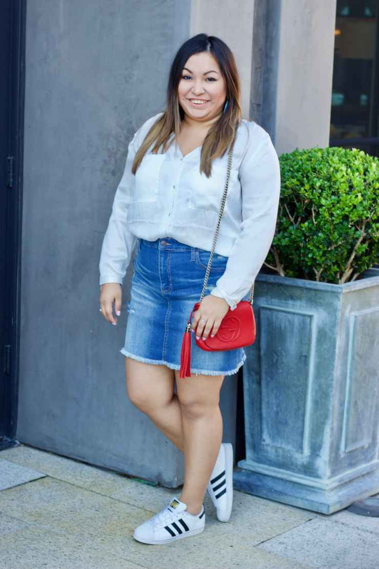summer outfits, target denim skirt, gucci purse, adidas, hm clothing